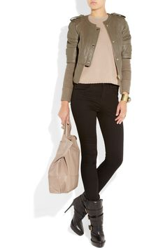 love this look.. tory burch leather jacket