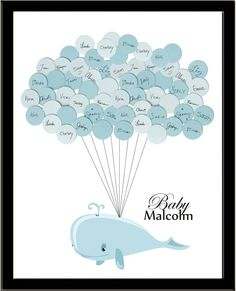 Baby Shower Guest Book - Whale with Balloons - Light striped background - Nautical Sea Theme Baby Shower Unique, Baby Shower Niño, Baby Shower Gender Reveal, Baby Shower Games, Baby Shower Parties, Baby Showers, Whale Nursery, Baby Whale, Baby Balloon