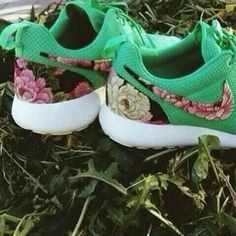 So different green, flowers, nikes