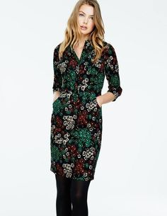 cord shirt dress in a cute green vintage floral print #boden