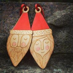 Mr and Mrs Santa tree decorations by Gabrielle Reith