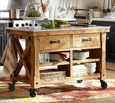 hamilton reclaimed wood kitchen island Oh, this looks so functional and beautiful Moveable Kitchen Island, Marble Top Kitchen Island, Mobile Kitchen Island, Kitchen Island On Wheels, Farmhouse Kitchen Island, Kitchen Tops, New Kitchen, Kitchen Ideas, Barn Kitchen