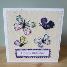 Applique Butterfly Birthday textile card (http://folksy.com/items/4069206-Applique-Butterfly-Birthday-textile-card)