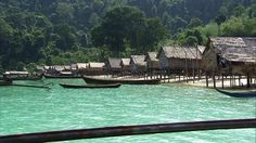 One of the few Moken villages in the Andaman Sea. The Moken sea nomads used to live on boats and stayed in temporary island shelters only during the typhoon season. Over the last years, more and more Moken started to semi-settle in villages. This pic is by German documentary show Weltspiegel