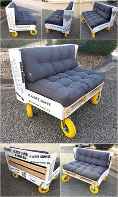 Wood Pallet Ideas pallet wood garden couch seat on wheels - It is not necessary that creative minded people have the skills to turn their imagination into reality, but those who possess the skills can get. Pallet Seating, Diy Pallet Sofa, Diy Couch, Couch Furniture, Reclaimed Wood Furniture, Diy Pallet Furniture, Diy Pallet Projects, Pallet Ideas, Wood Projects