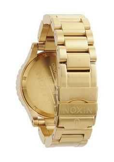 NIXON GOLD WATCH - New Arrivals The Golden Touch: The Nixon Gold Chrono watch delicately balances its feminine design with its high-performance technical abilities. Feminine, Touch, Watches, Gold, Design, Women's, Wristwatches, Clocks