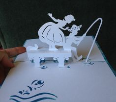 "Fishing pop-up card  (Template from ""cahier de kirigami no.16"")"