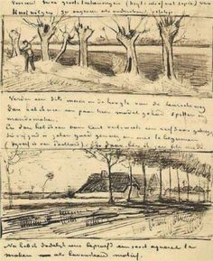 Sketches for Road with Pollard Willows, Van Gogh, Ink on paper. Van Gogh Museum, Amsterdam, The Netherlands. Vincent Van Gogh, Theo Van Gogh, Alphonse Mucha, Desenhos Van Gogh, Van Gogh Arte, Van Gogh Drawings, Van Gogh Pinturas, Artist Van Gogh, Art Van