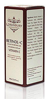 Retinol with Vitamin C and Hyaluronic Acid - Lordsbury Retinol + C - Moisturizing Face Cream - Anti-Aging Serum - Anti-Wrinkle Cream - Acne Treatment - Retinol A - 97% Natural - 2.8 fl oz. 80ml
