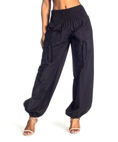 Look at this #zulilyfind! Black Smocked Harem Pants by Sol Clothing #zulilyfinds