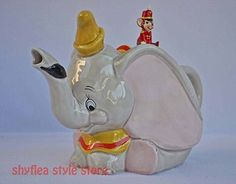 Dumbo & Timothy Disney Teapot Ceramic Rare Elephant Mouse No Chips Figural CUTE