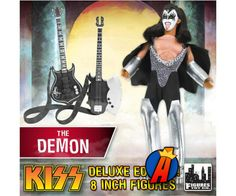 The Demon (Gene Simmons) Deluxe KISS Series 1 Love Gun Action Figure from Figures Toy Company. Kiss Action Figures, Kiss Merchandise, Bass Guitar Accessories, Kiss World, Gene Simmons Kiss, Peter Criss, Love Gun, Ace Frehley, Hot Band