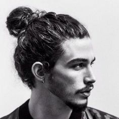 There are many cool hairstyles for men with wavy hair. With the right hair produ. There are many cool hairstyles for men with wavy hair. With the right hair produ… Man Bun Curly Hair, Long Curly Hair Men, Really Curly Hair, Curly Hair Styles, Man Bun Hairstyles, Cool Hairstyles For Men, New Haircuts For Boys, Trendy Haircut, Haircut Styles