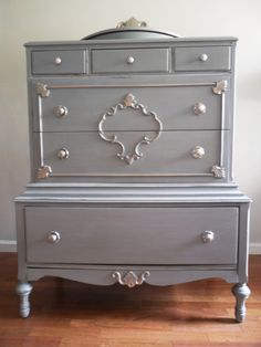 French Ice Blue/Grey Dresser/Chest of Drawers by SalvageChicStudio,