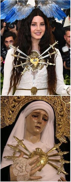 Lana Del Rey is reminiscent of Our Lady of the Seven Sorrows at the 'Heavenly Bodies: Fashion and the Catholic Imagination' Met Gala 2018 #LDR