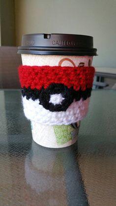 Crocheted Pokeball Coffee Cozy - READY TO SHIP