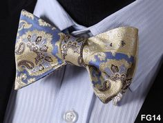 Paisley Floral 100%Silk Jacquard Woven Men Classic Wedding Butterfly Self Bow Tie BowTie FG