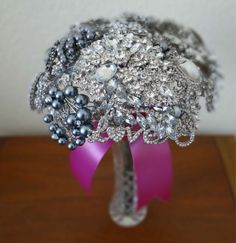 Large Crystal Silver & Pearl Wedding Brooch Bouquet with LOVE