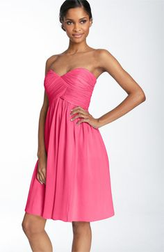 peach fuzz or honeysuckle     Donna Morgan Strapless Silk Chiffon Dress available at Nordstrom