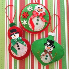 Christmas Felt Ornaments / Snowman Ornaments / by CraftsbyBeba