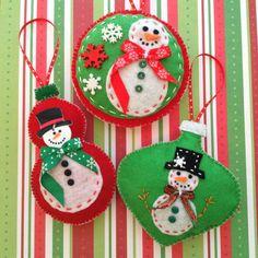 Christmas Felt Ornaments / Snowman Ornaments / by CraftsbyBeba