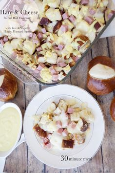 Ham and Cheese Pretzel Roll Casserole with Greek Yogurt Honey Mustard Sauce, a great family friendly 30 minute meal!