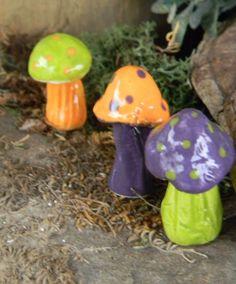 Ceramic+Garden+mushroom+miniatures+3+by+EnchantdMushroomLand,+$10.95