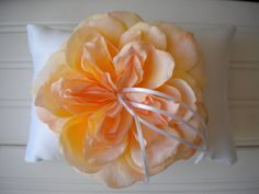 Peach Peony Ring Bearer Pillow on Etsy, $25.00