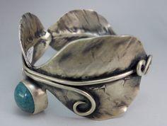 Jennie Lorette Keatts: forged leaves cuff with pottery and labradorite Labradorite, Pottery, Leaves, Jewellery, Hall Pottery, Jewels, Jewelry Shop, Jewerly, Japanese Ceramics
