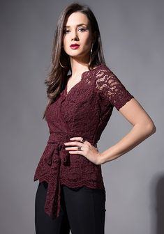 d6e3d13b66243 Buy Wine Wrap Up Lace Top online in India at FabAlley.com – leading online