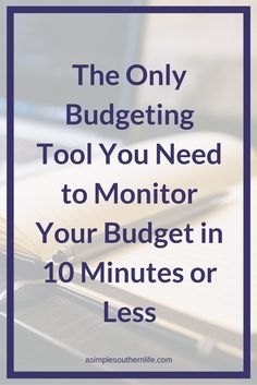 The only budgeting tool you need to monitor your budget in 10 minutes or less. Easy set up even if you've never created a budget.