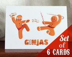Twas the fight before Christmas on this funny holiday card, where two cute gingerbread ninjas, aka Ginjas, battle it out with candy cane spears