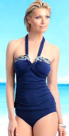 5ce66360d38 Anne Cole 2014 Ditsy Floral Navy Tankini #annecole #2014 #floral #tankini #