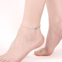 #TBDress - #TBDress Rectangle Hollow-Out Silver Plated Anklet - AdoreWe.com