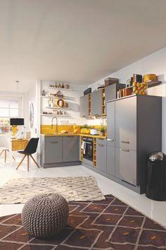 Eckküche Laser Grau/Gelb online kaufen ➤ mömax Kitchen, Home Decor, Grey Yellow, Cuisine, Kitchens, Interior Design, Home Interior Design, Stove, Cucina
