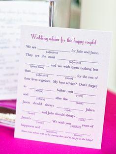 Mad lib wedding guest book!