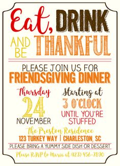 Friendsgiving InvitationsThanksgiving Invitations Orange