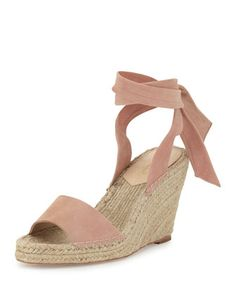Harper+Ankle-Wrap+Wedge+Espadrille+Sandal,+Blush+by+Loeffler+Randall+at+Neiman+Marcus.