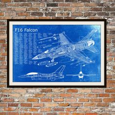 Blueprint Art of F-16 Falcon Jet PlaneTechnical di BigBlueCanoe