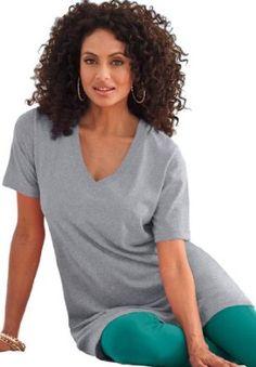 b3565b42603 Roamans Womens Plus Size V-Neck Max Tunic