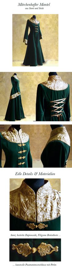 Gorgeous detailed travel coat for a medieval royal lady Medieval Costume, Medieval Dress, Medieval Fashion, Medieval Clothing, Cosplay Costume, Costume Dress, Historical Costume, Historical Clothing, Looks Cool