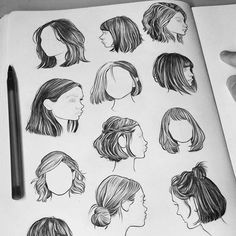 Fashion Drawing Techniques Paintings 53 Ideas For 2019 Pencil Art Drawings, Art Drawings Sketches, Cool Drawings, Drawing Faces, Drawings Of Hair, Short Hair Drawing, Drawing Portraits, Cool Sketches, Hair Sketch