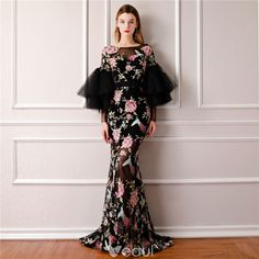 dd55e34aeb8c Modern / Fashion Black Summer See-through Evening Dresses 2019 A-Line /  Princess Scoop Neck Puffy Long Sleeve Embroidered Flower Formal Dresses  Sweep Train