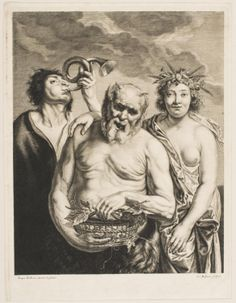 Schelte Adams Bolswert, 1630, Silenus Carrying a Basket of Fruit, Flanked by Zephyrus and Flora