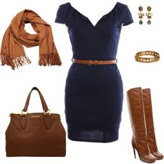 """""""Navy & Brown"""" created by #msamandacall, #polyvore #fashion #style Maison Martin Margiela Miu Miu #Bounkit #Acne knee high boots #navy #brown work outfits #scarves"""