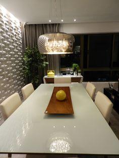 Apartamento 120m2 Recife- Home Decor- Colors Decor- Decoração com Cores-Decoração- Arquitetura Residencial- Design de Interiores- Sala de Jantar- Revestimentos 3D- Projeto Luminotécnico