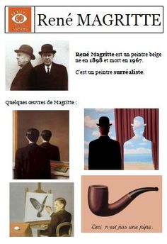 Ren'e Magritte his work makes me smile Classroom Art Projects, School Art Projects, Art Classroom, Art School, Rene Magritte, Art History Lessons, Art Lessons, Art Worksheets, Ecole Art