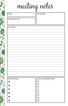 √ 25 Meeting Note Taking Template