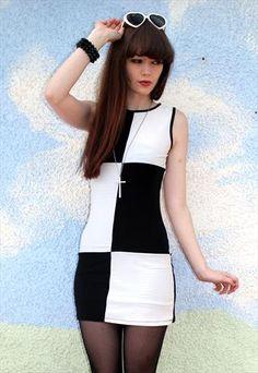60's style vintage monochrome bodycon mini dress £24.00