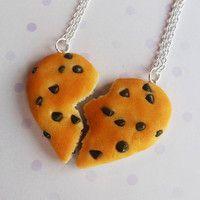 valentines day chocolate chip cookie best friend necklaces half broken heart friendship necklace polymer clay